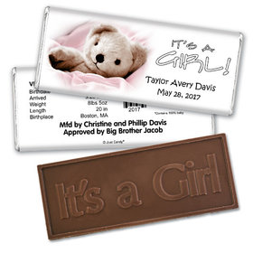 Baby Girl Announcement Personalized Embossed Chocolate Bar It's a Girl! Teddy Bear