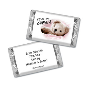 Baby Girl Announcement Personalized Hershey's Miniatures It's a Girl! Teddy Bear