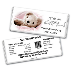 Baby Girl Announcement Personalized Chocolate Bar Wrappers It's a Girl! Teddy Bear