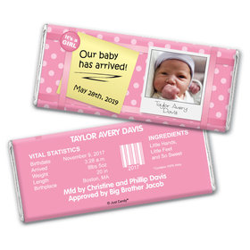 Baby Girl Announcement Personalized Chocolate Bar Wrappers She's Arrived Polka Dots Photo