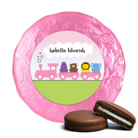 Baby Girl Announcement Chocolate Covered Oreos Her Zoo Train Safari Animals (24 Pack)