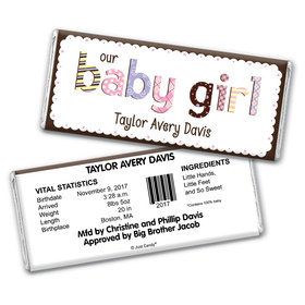 Girl Baby Announcements Personalized Chocolate Bar Wrappers