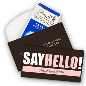 Deluxe Personalized Girl Birth Announcement Say Hello Lindt Chocolate Bar in Gift Box (3.5oz)