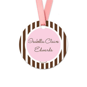 Personalized Round Stripes Baby Girl Announcement Favor Gift Tags (20 Pack)