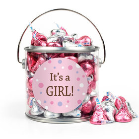 Baby Girl Birth Announcement Bubbles Silver Paint Can with Sticker