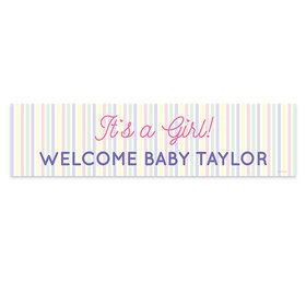 Personalized It's a Girl Stripes Girl Baby Announcement Banner