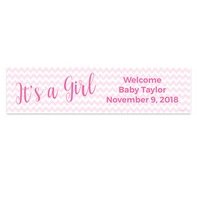 Personalized It's a Girl Chevron Girl Baby Announcement Banner