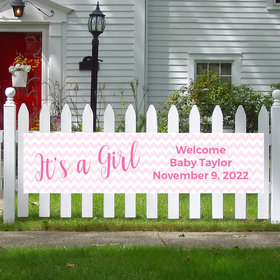Personalized It's a Girl Chevron Girl Baby Announcement 5 Ft. Banner