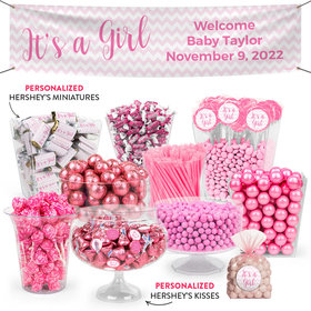 Personalized Girl Birth Announcement Chevron Deluxe Candy Buffet