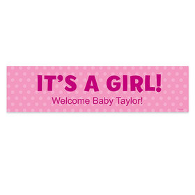 Personalized Polka Dots Girl Baby Announcement Banner