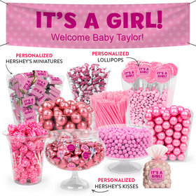 Personalized Girl Birth Announcement Polka Dots Deluxe Candy Buffet
