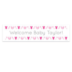 Personalized Welcome Girl Baby Announcement Banner