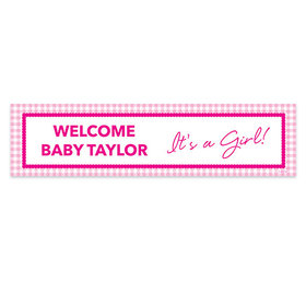 Personalized Checker Pattern Girl Baby Announcement Banner