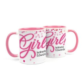 Personalized Baby Girl Announcement It's a Girl Bubbles 11oz Mug