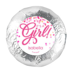 Personalized Girl Birth Announcement Bubbles 1.25in Stickers (48 Stickers)