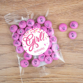 Personalized Girl Birth Announcement Candy It's a Girl Bubbles Candy Bag with JC Chocolate Minis