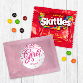 Personalized Girl Birth Announcement It's a Girl Bubbles Skittles