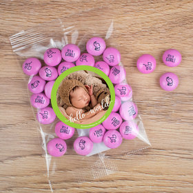 Personalized Girl Birth Announcement Hello World Candy Bag with JC Chocolate Minis