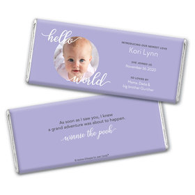 Personalized Hello World Baby Girl Birth Announcement Hershey's Chocolate Bar Wrappers