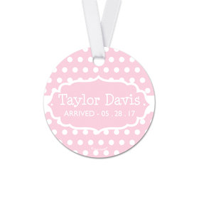 Personalized Round Baby Girl Tiny Dots Announcement Favor Gift Tags (20 Pack)