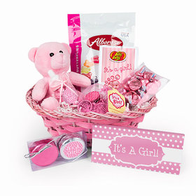 Baby Girl Birth Announcement Polka Dots Gift Basket