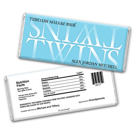 Twin Birth Announcement Personalized Chocolate Bar Wrappers Reflection