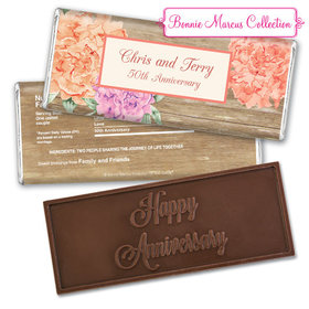 Bonnie Marcus Collection Personalized Embossed Chocolate Bar Chocolate and Wrapper Blooming Joy Anniversary Party Favor