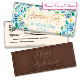 Bonnie Marcus Collection Personalized Embossed Chocolate Bar Chocolate & Wrapper Here's Something Blue Anniversary Favors