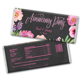 Bonnie Marcus Collection Personalized Chocolate Bar Wrappers Chocolate & Wrapper Floral Embrace Anniversary Favors