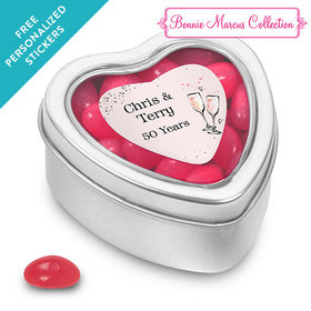 Bonnie Marcus Collection Personalized Small Heart Tin Cheers to the Years Anniversary Favor (25 Pack)