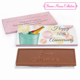 Deluxe Personalized Anniversary Champagne Bucket Embossed Chocolate Bar in Gift Box