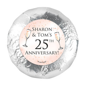 """Personalized Anniversary Champagne Party 1.25"""" Stickers (48 Stickers)"""
