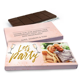 Deluxe Personalized Anniversary Champagne Party Chocolate Bar in Gift Box (3oz Bar)