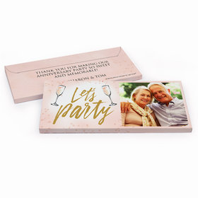 Deluxe Personalized Anniversary Champagne Party Chocolate Bar in Gift Box