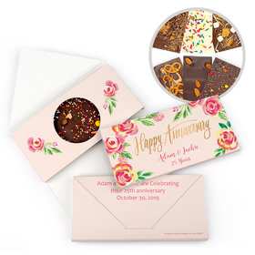Personalized Bonnie Marcus Anniversary Pink Flowers Gourmet Infused Belgian Chocolate Bars (3.5oz)