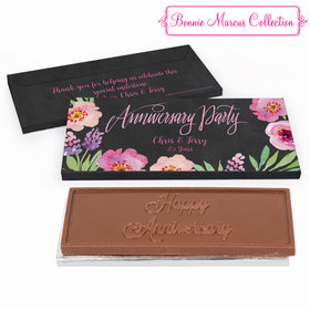 Deluxe Personalized Anniversary Floral Embrace Embossed Chocolate Bar in Gift Box