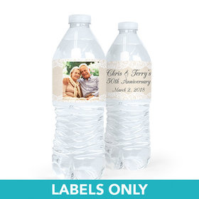 Personalized Anniversary Burlap & Lace Water Bottle Sticker Labels (5 Labels)