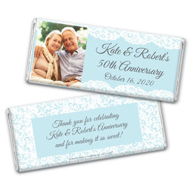 Personalized Bonnie Marcus Anniversary Lace Linen Chocolate Bar Wrappers Only
