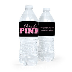 Personalized Bonnie Marcus Breast Cancer Awareness Pink Power Water Bottle Sticker Labels (5 Labels)