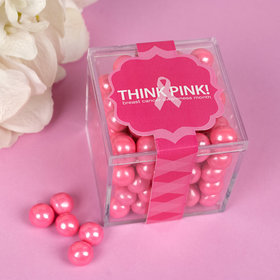 Personalized Breast Cancer Awareness JUST CANDY® favor cube with Sixlets Chocolate
