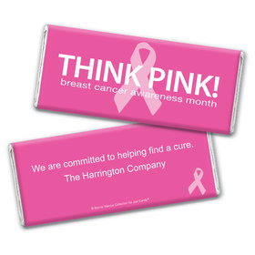 Personalized Bonnie Marcus Breast Cancer Awareness Simply Pink Chocolate Bar Wrappers Only