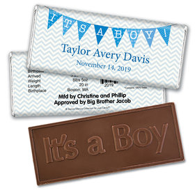 Bonnie Marcus Collection Personalized Embossed It's a Boy Bar and Wrapper Chevron Banner Boy Birth Announcement
