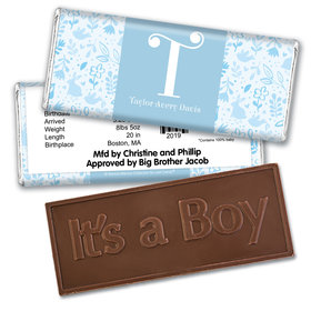 Bonnie Marcus Collection Personalized Embossed It's a Boy Bar Flowers and Cute Animals Boy Birth Announcement