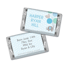 Bonnie Marcus Collection Personalized Hershey's Miniatures Wrappers Baby Elephants Boy Birth Announcement