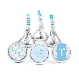 """Bonnie Marcus Collection Personalized 3/4"""" Sticker Blue Hearts Boy Birth Announcement"""
