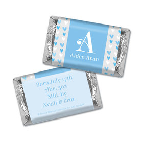 Bonnie Marcus Collection Personalized Hershey's Miniatures Wrappers Blue Hearts Boy Birth Announcement