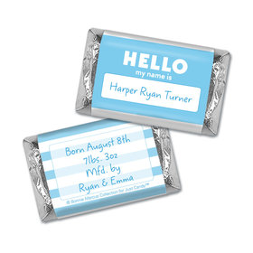 Bonnie Marcus Collection Personalized Photo Hershey's Miniatures Wrappers Name Tag Boy Birth Announcement