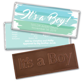 Bonnie Marcus Collection Personalized Embossed It's a Boy Bar and Wrapper Watercolor Boy Birth Announcement