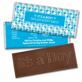 Bonnie Marcus Collection Personalized Embossed It's a Boy Bar It's a Boy Hearts Birth Announcement
