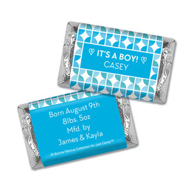 Bonnie Marcus Collection Personalized Hershey's Miniatures Wrappers It's a Boy Hearts Birth Announcement